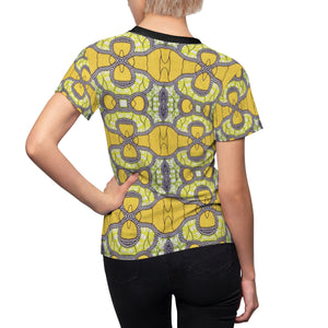 SunFlower Yellow Women's African Print Polyester  Tee