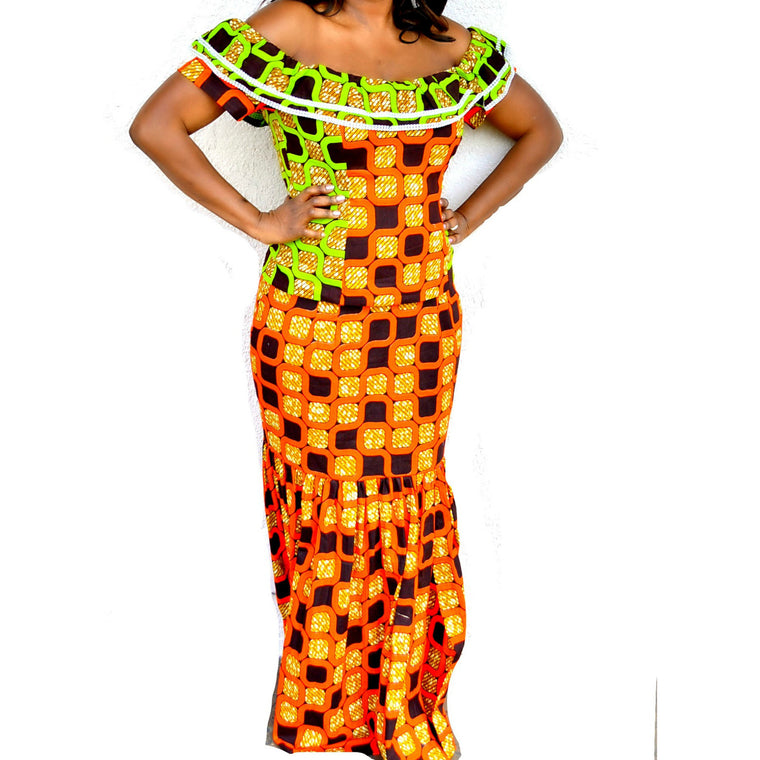 Green And Orange Ankara Ruffle Top With Long Skirt - Zabba Designs African Clothing Store  - 1