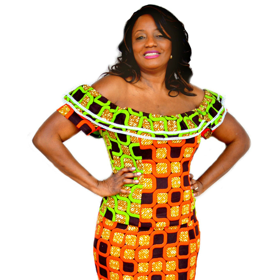Green And Orange Ankara Ruffle Top With Long Skirt - Zabba Designs African Clothing Store