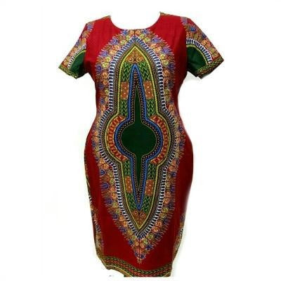 ALAYA African Print Dashiki  Midi Dress - Zabba Designs African Clothing Store  - 4