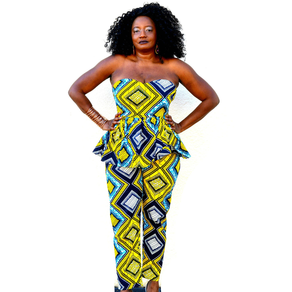 Kou African Print Pant  Set - Zabba Designs African Clothing Store  - 1