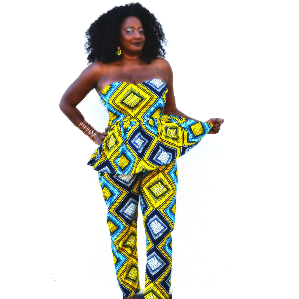 Kou African Print Pant  Set - Zabba Designs African Clothing Store  - 2