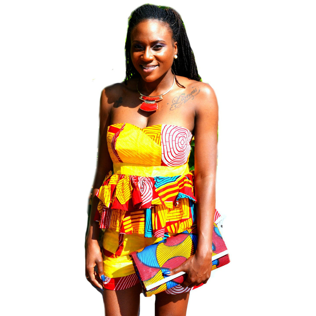 Yellow And Red  African Ankara Print Short Set - Zabba Designs African Clothing Store  - 1