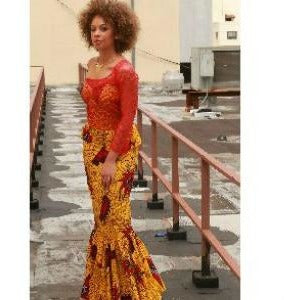 Yellow Lace And  Ankara Evening Gown - Zabba Designs African Clothing Store