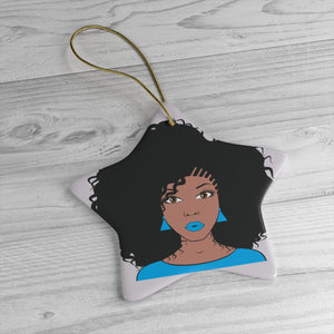 Blue Afro Girl Ceramic Christmas Ornaments - Zabba Designs African Clothing Store