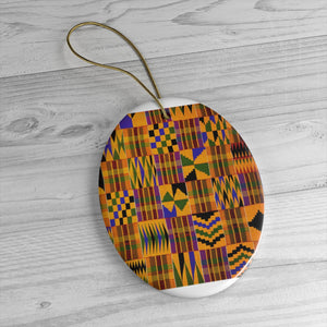 Kente Print Africa Ceramic Ornaments - Zabba Designs African Clothing Store