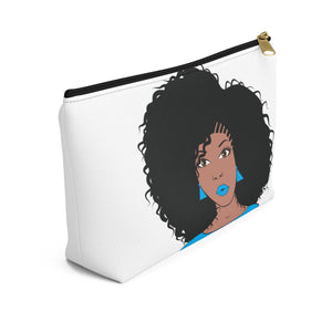 Blue Natural Afro Queen Make up Pouch w T-bottom - Zabba Designs African Clothing Store