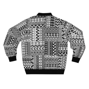 Black And White African Print  Men's  Bomber Jacket - Zabba Designs African Clothing Store