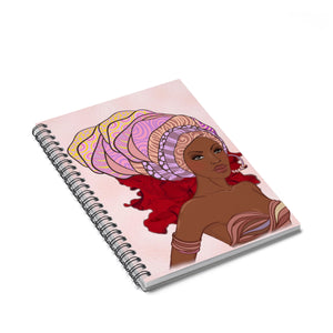 Pink Queen Headwrap Spiral Notebook - Ruled Line - Zabba Designs African Clothing Store
