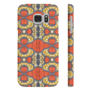 Orange African Print Slim Phone Cases