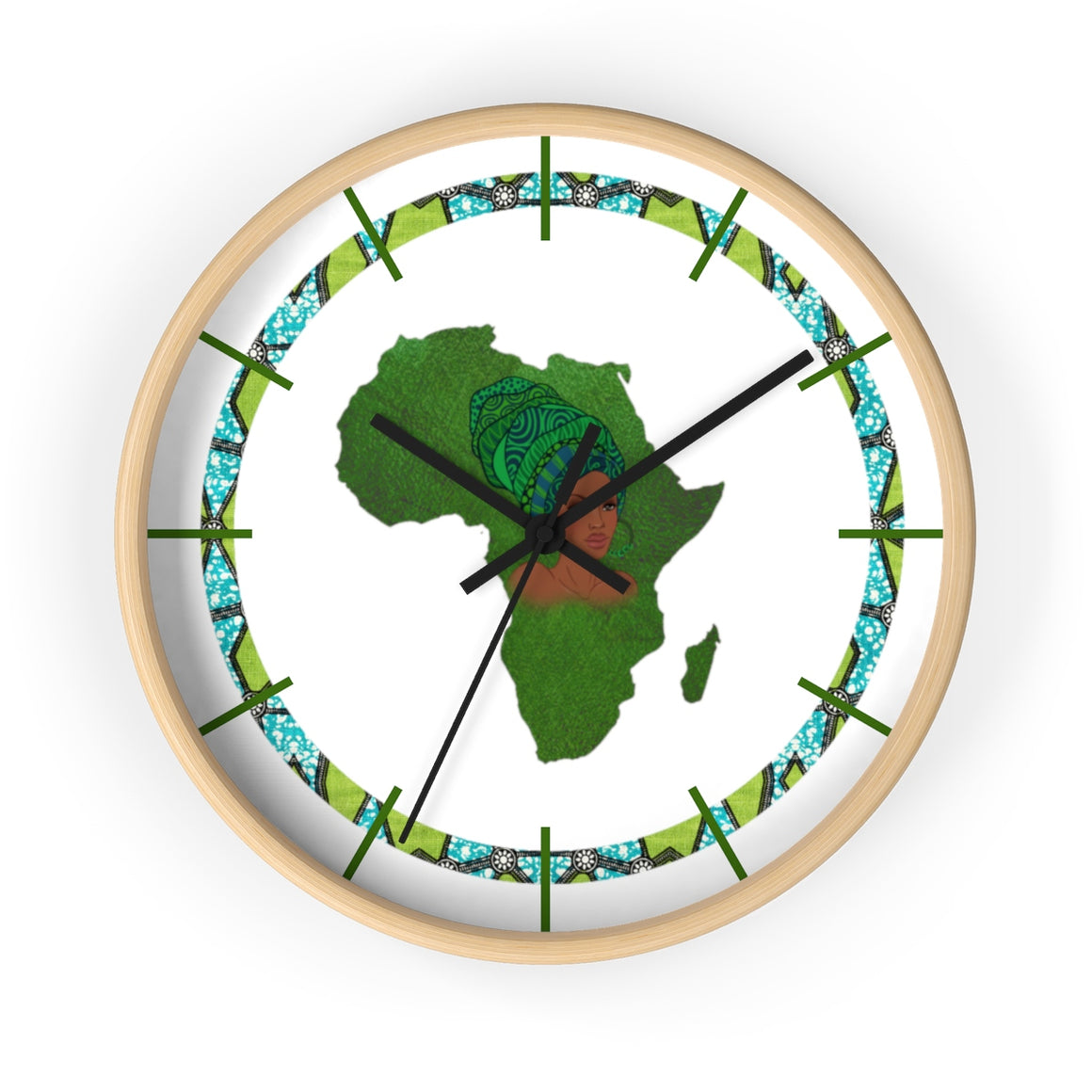Green Map Of Africa Wall clock - Zabba Designs African Clothing Store