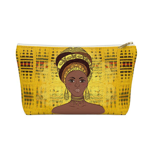 Yellow Kente African Inspired Make up Pouch w T-bottom - Zabba Designs African Clothing Store