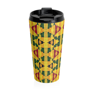 Yellow Kente Print Stainless Steel Travel Mug