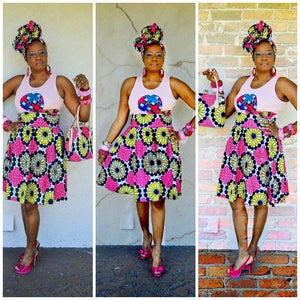 Glam Pink  African Ankara Print Midi Skirt - Zabba Designs African Clothing Store