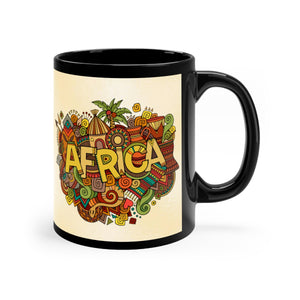 African Tribal Black mug 11oz - Zabba Designs African Clothing Store