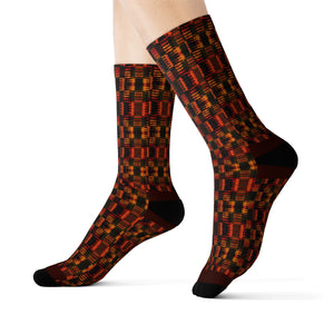 Unisex Orange  Kente African Print Socks - Zabba Designs African Clothing Store