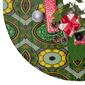 Green Aisha African Print Christmas Tree Skirt - Zabba Designs African Clothing Store
