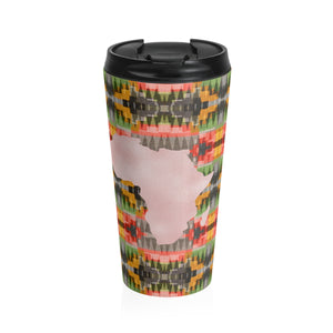 Pink and Green  Kente Print Stainless Steel Travel Mug