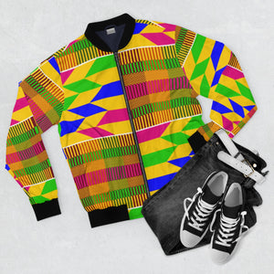 Ghana Kente Print  Men's  Bomber Jacket - Zabba Designs African Clothing Store