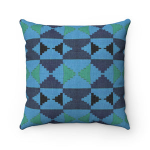 Karla Kente Print Blue Polyester Square Pillow - Zabba Designs African Clothing Store