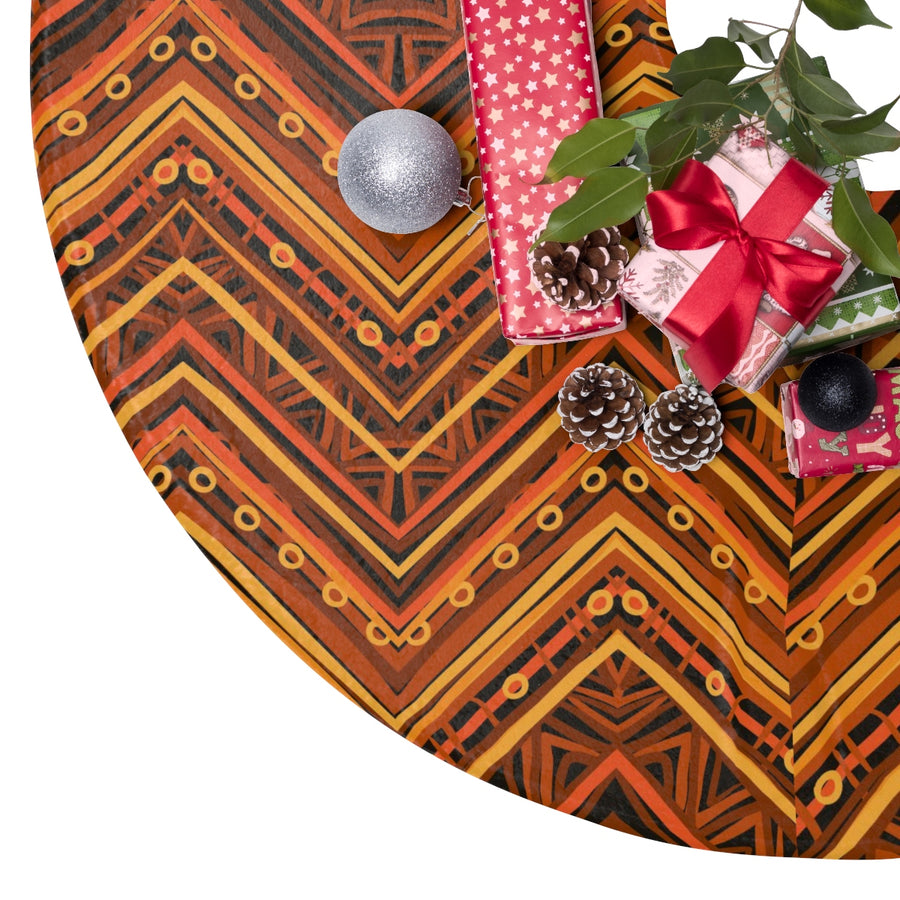 Orange Kente Print Christmas Tree Skirt
