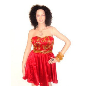 JUJU African Red And Gold Lace Strapless Cocktail Dress - Zabba Designs African Clothing Store