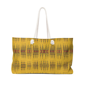 Yellow Kente Print Weekender Bag - Zabba Designs African Clothing Store