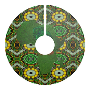 Green Aisha African Print Christmas Tree Skirt