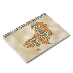 Orange Map Of Africa Spiral Notebook - Ruled Line - Zabba Designs African Clothing Store