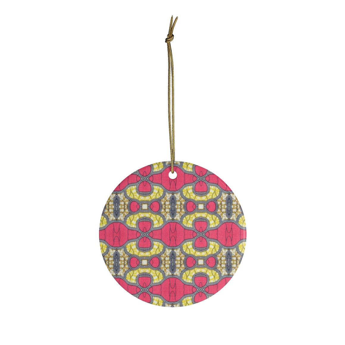 Pink And Gold African Print Ceramic Ornaments