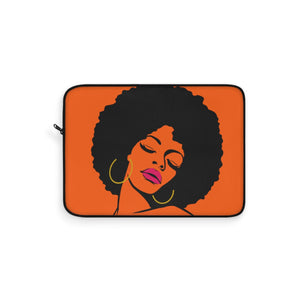 Orange Fro Chick Laptop Sleeve - Zabba Designs African Clothing Store