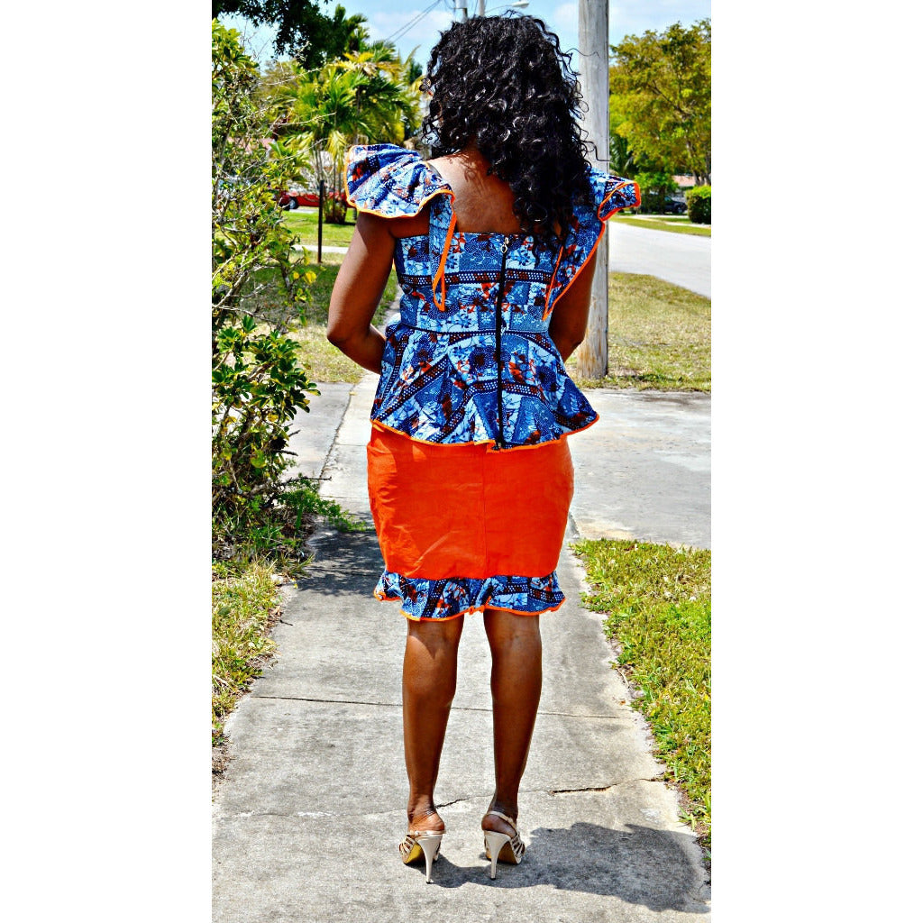 African Ankara And Bazin Blue And Orange Skirt Suit - Zabba Designs African Clothing Store
