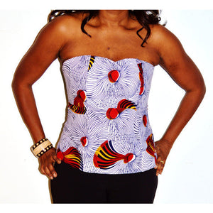 Hibicus Bustier Corset Top - Zabba Designs African Clothing Store