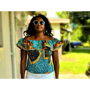 Blue Off Shoulder African print Top - Zabba Designs African Clothing Store
