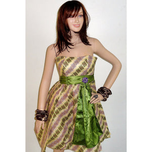 BiBI Green And Brown Cocktail Dress - Zabba Designs African Clothing Store