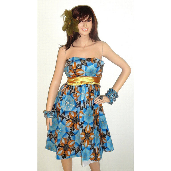 African Ankara Blue And Gold Dress Handmade Dress Short