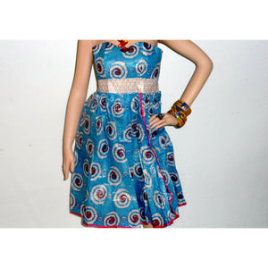 Vic Blue  And Gold African Print Midi Dress - Zabba Designs African Clothing Store