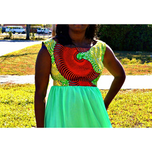 Seedy Green Maxi Chiffon Dress - Zabba Designs African Clothing Store