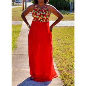 Red Ankara and Chiffon Dress - Zabba Designs African Clothing Store