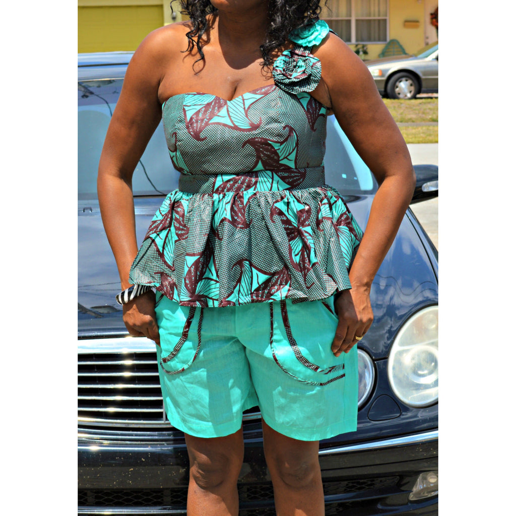 Ghazi Sage And Black African Inspired One Shoulder Shorts Set - Zabba Designs African Clothing Store