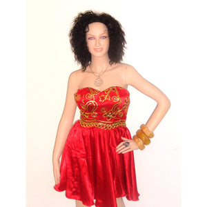 Jule African Red And Gold Lace Strapless Cocktail Dress - Zabba Designs African Clothing Store