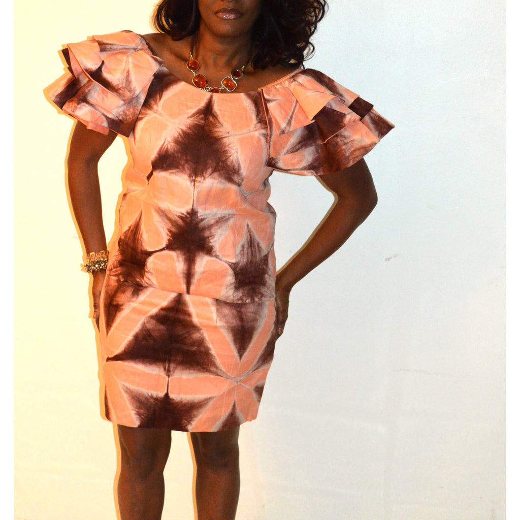 Brown And Blush Skirt And Blouse Set Tie Dye Brown African - Zabba Designs African Clothing Store