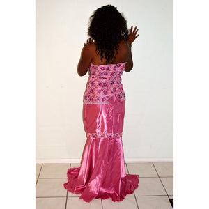 Mango Pink Lace And Satin Two Piece Long Dress - Zabba Designs African Clothing Store