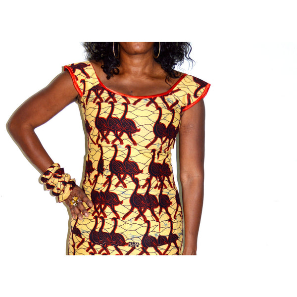 Ankara Yellow And Red Two Piece Long Mermaid Dress