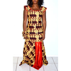 Reddy African Ankara Yellow And Red Two Piece Long Mermaid Dress - Zabba Designs African Clothing Store