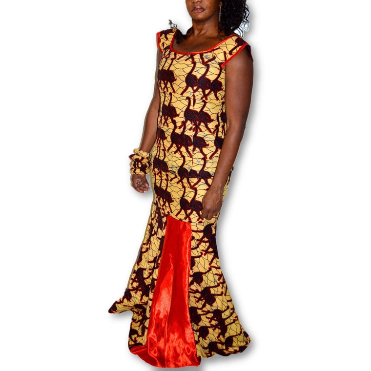 Ankara Yellow And Red Two Piece Long Mermaid Dress - Zabba Designs African Clothing Store