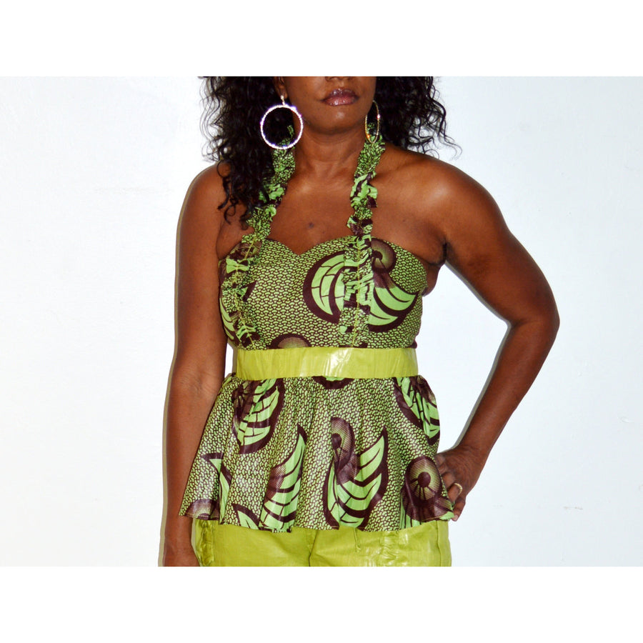 African Inspired Green Pants And Top Set - Zabba Designs African Clothing Store