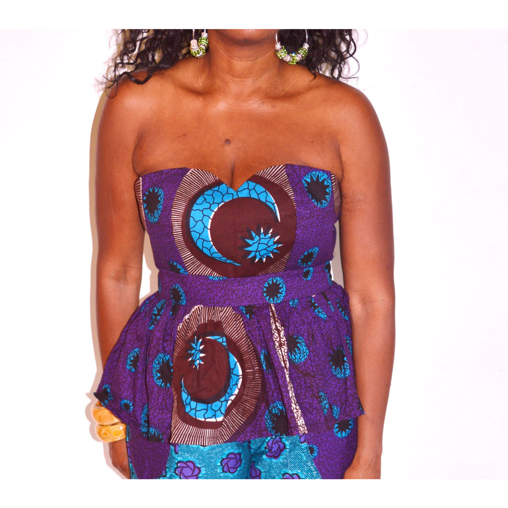 Tiffani Blue Off The Shoulder Peplum Top And Shorts Set - Zabba Designs African Clothing Store