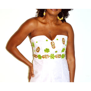 Strapless White Linen African print Dress - Zabba Designs African Clothing Store