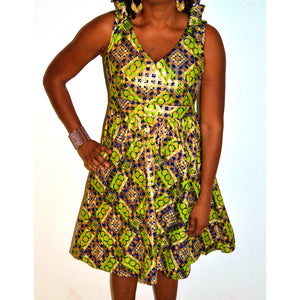 Goldie Midi Green And Gold African  Dress - Zabba Designs African Clothing Store